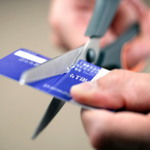 Cutting a credit card in half