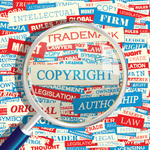 Copyright, trademark, patent in a colorful image