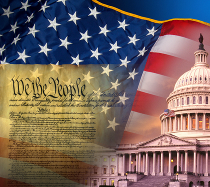 U.S. flag and Constitution