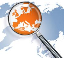 Magnifying glass over Europe