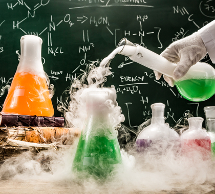 Chemicals in beakers in a lab