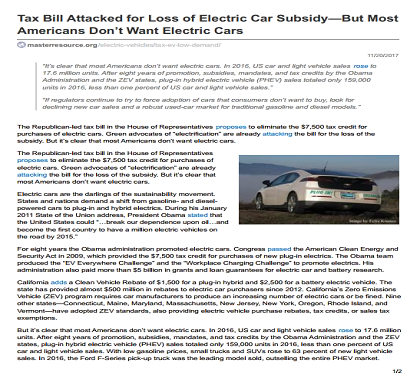 The Republican Led Tax Bill In House Of Representatives Proposes To Eliminate 7 500 Credit For Purchases Electric Cars