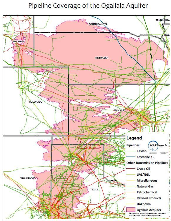 Publications - Map of Pipelines and the Ogallala Aquifer, 2012 ...